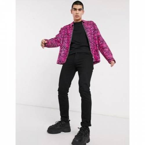 ピンク メンズファッション コート ジャケット 【 PINK ASOS DESIGN HARRINGTON JACKET IN ZEBRA SEQUIN 】