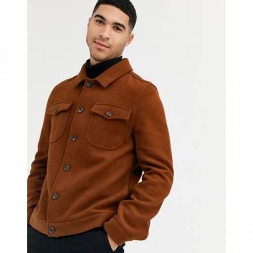 タバコ メンズファッション コート ジャケット 【 ASOS DESIGN WOOL MIX WESTERN JACKET IN TOBACCO 】
