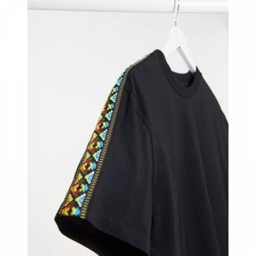 Tシャツ 虹色 レインボー メンズファッション トップス カットソー 【 ASOS DESIGN RELAXED TSHIRT WITH RAINBOW AZTEC TAPING 】
