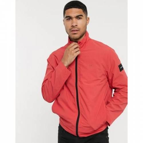 ナイロン 赤 レッド メンズファッション コート ジャケット 【 RED CALVIN KLEIN CRINKLE NYLON JACKET IN 】