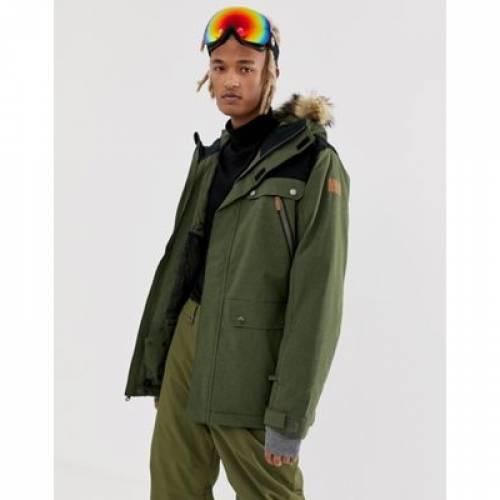 カーキ メンズファッション コート ジャケット 【 QUICKSILVER SELECTOR HOODED SKI JACKET IN KHAKI 】