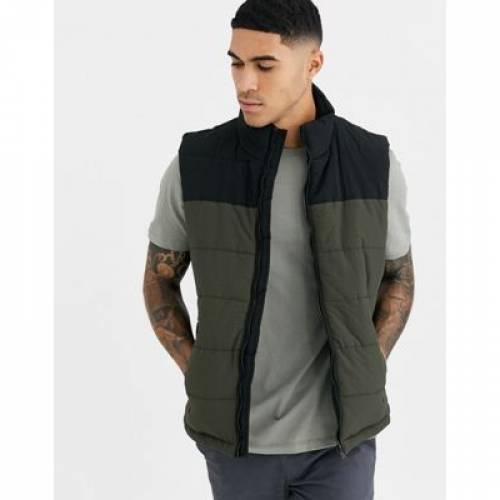 カーキ メンズファッション コート ジャケット 【 NEW LOOK GILET IN KHAKI COLOUR BLOCK 】