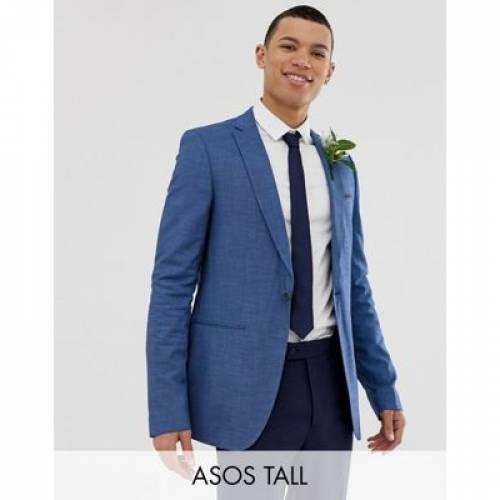 スリム 青 ブルー メンズファッション スーツ セットアップ 【 SLIM BLUE ASOS TALL WEDDING SUIT JACKET IN TONIC 】 ※セットアップではありません