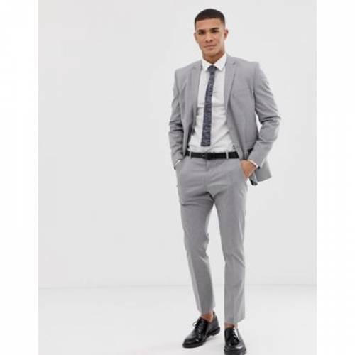 スリム GRAY灰色 グレイ メンズファッション コート ジャケット 【 SLIM GREY SELECTED HOMME FIT SUIT JACKET WITH STRETCH IN LIGHT 】 ※セットアップではありません