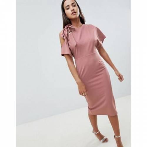 ドレス レディースファッション ワンピース 【 ASOS DESIGN EYELET COLD SHOULDER PENCIL DRESS 】