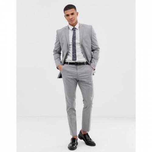 スリム GRAY灰色 グレイ メンズファッション ズボン パンツ 【 SLIM GREY SELECTED HOMME FIT SUIT TROUSER WITH STRETCH IN LIGHT 】