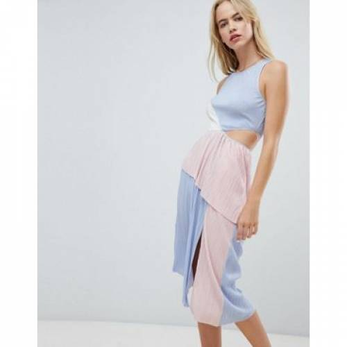 ドレス レディースファッション ワンピース 【 ASOS DESIGN COLOUR BLOCK PLISSE DRESS 】