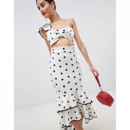 ドレス レディースファッション ワンピース 【 ASOS DESIGN HEART PRINT TIPPED BODYCON DRESS 】