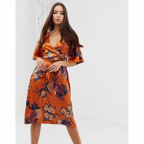 サテン ドレス 橙 オレンジ レディースファッション ワンピース 【 ORANGE PRETTYLITTLETHING SATIN KIMONO MIDI DRESS IN FLORAL 】