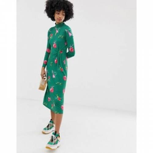 ドレス 緑 グリーン レディースファッション ワンピース 【 GREEN WAREHOUSE MIDI DRESS IN FLORAL 】