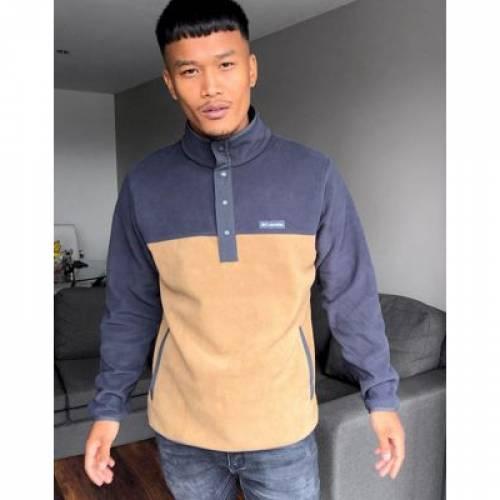 フリース 茶 ブラウン メンズファッション コート ジャケット 【 BROWN COLUMBIA SKIPPING ROCKS SNAP NECK FLEECE IN 】