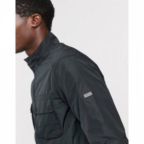 フィールド 黒 ブラック メンズファッション コート ジャケット 【 FIELD BLACK BARBOUR INTERNATIONAL STANNINGTON TWO POCKET JACKET IN 】