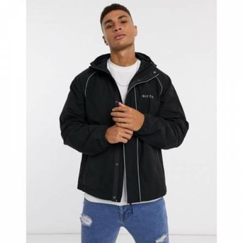 ロゴ 黒 ブラック メンズファッション コート ジャケット 【 BLACK NICCE LINEAR JACKET WITH REFLECTIVE PIPING AND BACK LOGO IN 】