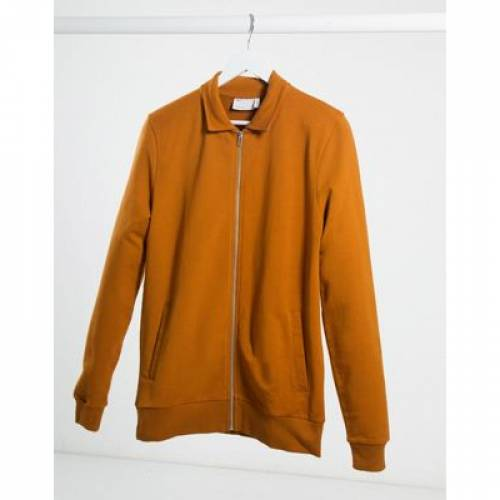ジャージ 橙 オレンジ メンズファッション コート ジャケット 【 ORANGE ASOS DESIGN MUSCLE JERSEY HARRINGTON JACKET IN DARK 】