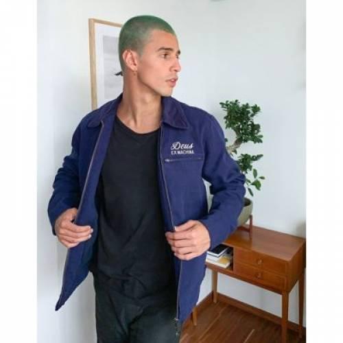 紺 ネイビー メンズファッション コート ジャケット 【 NAVY DEUS EX MACHINA BRANDED WORKWEAR JACKET IN 】