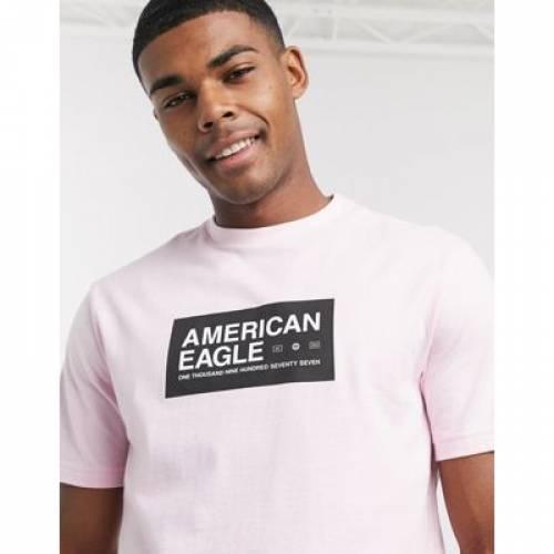 ロゴ Tシャツ ピンク メンズファッション トップス カットソー 【 PINK AMERICAN EAGLE CHEST LOGO AND BACK PHOTO PRINT TSHIRT IN LIGHT 】