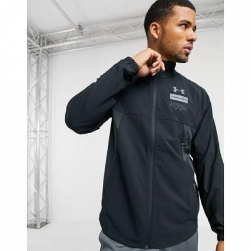 ウーブン 黒 ブラック メンズファッション コート ジャケット 【 WOVEN BLACK UNDER ARMOUR LIGHTWEIGHT ZIP THRU JACKET IN 】