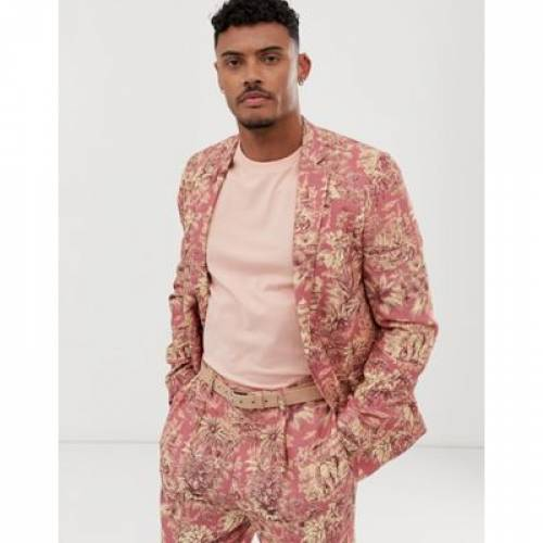 エレファント メンズファッション コート ジャケット 【 ASOS DESIGN SKINNY SUIT JACKET WITH ELEPHANT PRINT IN LINEN LOOK 】 ※セットアップではありません