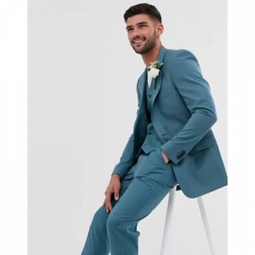 スリム ミッド 青 ブルー メンズファッション コート ジャケット 【 SLIM BLUE ASOS DESIGN WEDDING SUIT JACKET IN MID 】 ※セットアップではありません