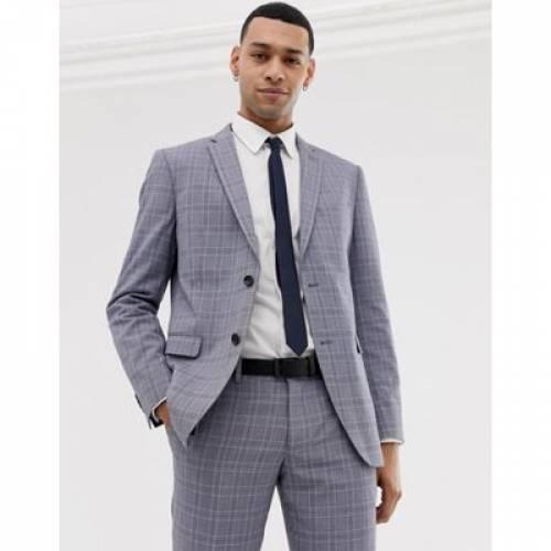 スリム 灰色 グレ メンズファッション コート ジャケット 【 SLIM ESPRIT FIT SUIT JACKET IN GREY POP GLENN CHECK 】 ※セットアップではありません