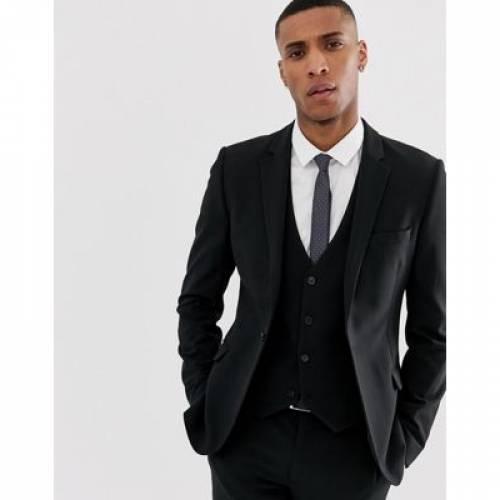 黒 ブラック メンズファッション コート ジャケット 【 BLACK ASOS DESIGN SUPER SKINNY SUIT JACKET IN 】 ※セットアップではありません