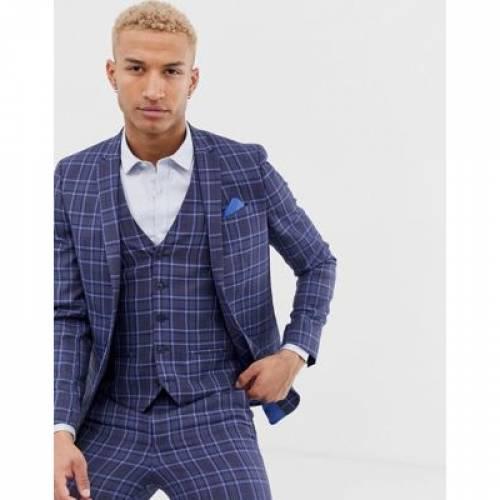 青 ブルー メンズファッション コート ジャケット 【 BLUE RIVER ISLAND DOUBLE BREASTED SUIT JACKET IN CHECK 】 ※セットアップではありません