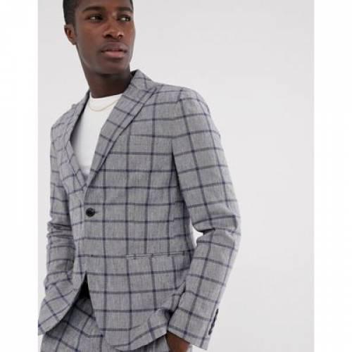 スリム メンズファッション コート ジャケット 【 SLIM SELECTED HOMME SUIT JACKET IN WINDOW PANE CHECK COTTON LINEN 】 ※セットアップではありません