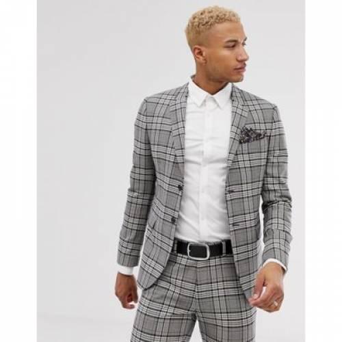 スリム 灰色 グレ メンズファッション コート ジャケット 【 SLIM LOCKSTOCK SUIT JACKET IN GREY CHECK 】 ※セットアップではありません