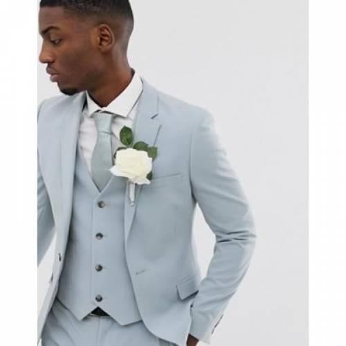 青 ブルー メンズファッション コート ジャケット 【 BLUE ASOS DESIGN WEDDING SUPER SKINNY SUIT JACKET IN ICE 】 ※セットアップではありません