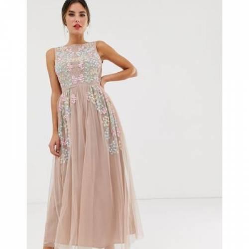 ドレス ピンク レディースファッション 【 PINK MAYA ALL OVER EMBROIDERED MIDAXI DRESS IN MULTI 】