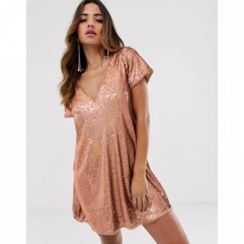 ドレス ローズ 金色 ゴールド レディースファッション 【 ROSE TFNC SEQUIN SHIFT DRESS IN GOLD 】