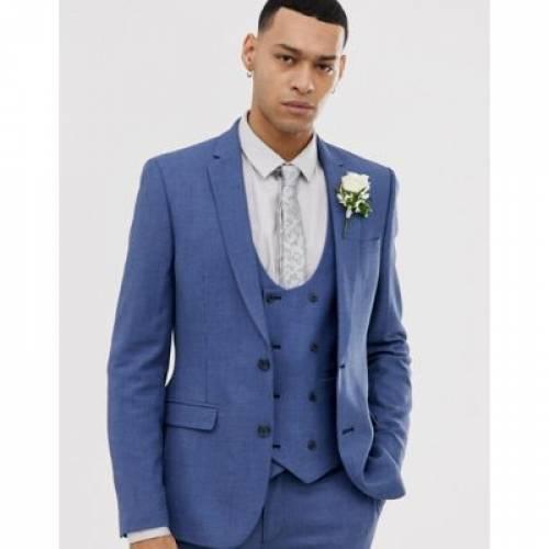 ミクロ テクスチャー ミッド 青 ブルー メンズファッション コート ジャケット 【 MICRO BLUE ASOS DESIGN WEDDING SUPER SKINNY SUIT JACKET IN TEXTURE MID 】 ※セットアップではありません