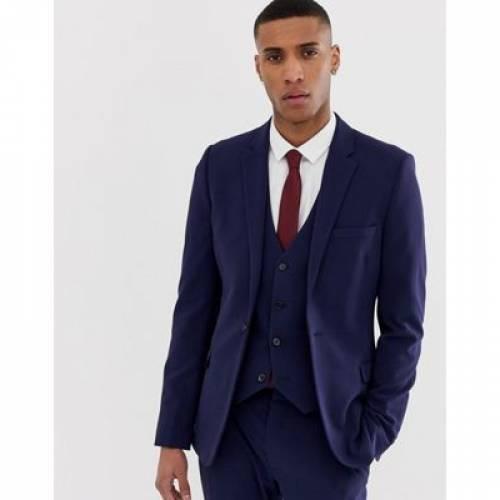 紺 ネイビー メンズファッション コート ジャケット 【 NAVY ASOS DESIGN SUPER SKINNY SUIT JACKET IN 】 ※セットアップではありません