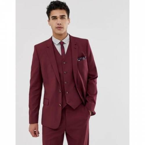 ワイン色 バーガンディー メンズファッション コート ジャケット 【 ASOS DESIGN SKINNY SUIT JACKET IN BURGUNDY 】 ※セットアップではありません
