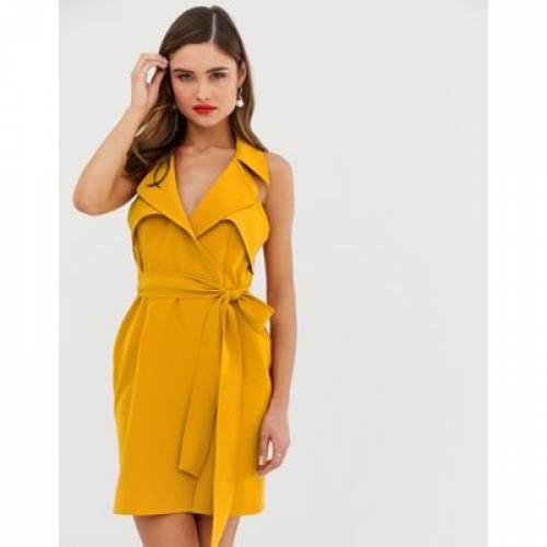 ドレス クレープ レディースファッション 【 ASOS DESIGN MINI BELTED TRENCH DRESS IN SOFT CREPE 】