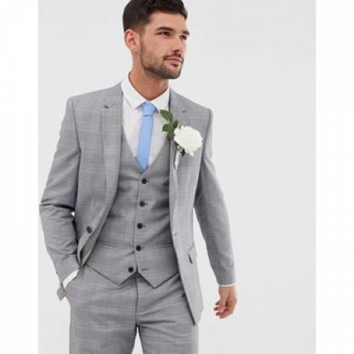 スリム 灰色 グレ メンズファッション コート ジャケット 【 SLIM RIVER ISLAND WEDDING SUIT JACKET IN GREY CHECK 】 ※セットアップではありません