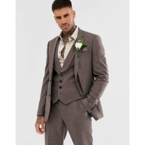 茶 ブラウン メンズファッション コート ジャケット 【 BROWN ASOS DESIGN WEDDING SKINNY SUIT JACKET IN SOFT TWILL 】 ※セットアップではありません
