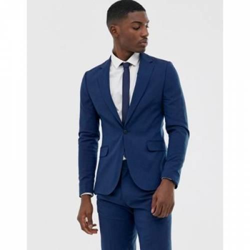 青 ブルー メンズファッション コート ジャケット 【 BLUE ASOS DESIGN SKINNY SUIT JACKET IN PETROL 】 ※セットアップではありません