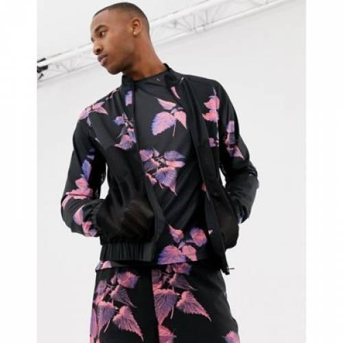 トラック メンズファッション コート ジャケット 【 ASOS 4505 TRACK JACKET WITH FLORAL PRINT AND BREATHABLE 】