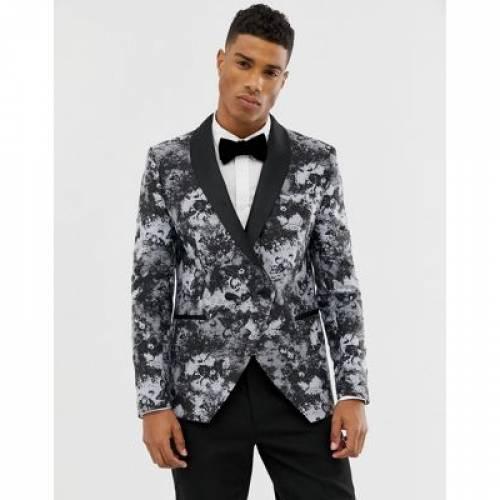 ブレーザー ブレイザー メンズファッション コート ジャケット 【 MOSS LONDON SKINNY BLAZER IN SMOKE PRINT 】
