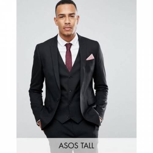 黒 ブラック メンズファッション コート ジャケット 【 BLACK ASOS DESIGN TALL SKINNY SUIT JACKET IN 】 ※セットアップではありません