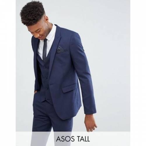 紺 ネイビー メンズファッション コート ジャケット 【 NAVY ASOS DESIGN TALL SKINNY SUIT JACKET IN 】 ※セットアップではありません