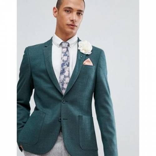 ブレーザー ブレイザー 緑 グリーン メンズファッション コート ジャケット 【 GREEN ASOS DESIGN WEDDING SKINNY BLAZER IN WOOL MIX 】