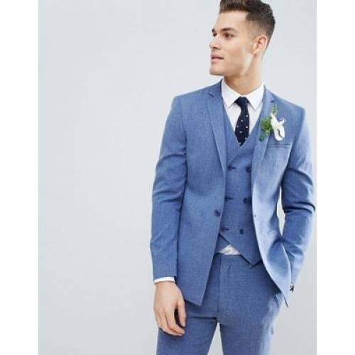 青 ブルー メンズファッション コート ジャケット 【 BLUE ASOS DESIGN WEDDING SKINNY SUIT JACKET IN PROVENCE CROSS HATCH WITH PRINTED LINING 】 ※セットアップではありません