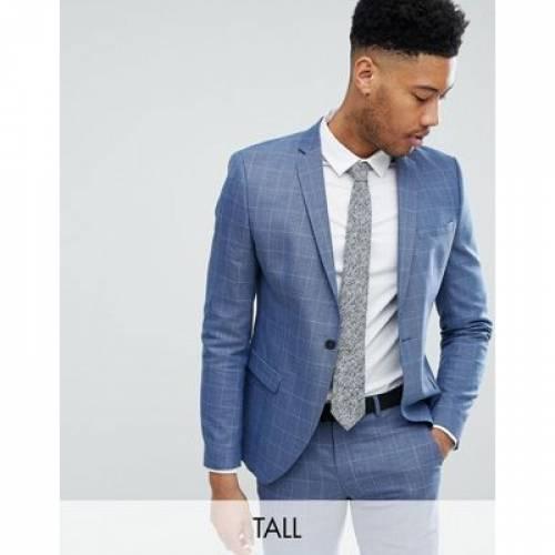 紺 ネイビー メンズファッション コート ジャケット 【 NAVY SELECTED HOMME SKINNY FIT SUIT JACKET IN GRID CHECK 】 ※セットアップではありません