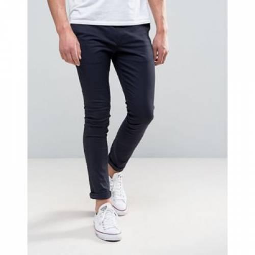 紺 ネイビー メンズファッション ズボン パンツ 【 NAVY ASOS DESIGN SUPER SKINNY CHINOS IN 】