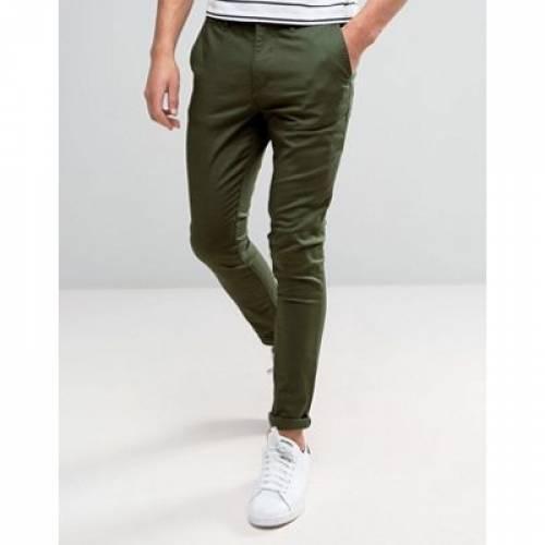 カーキ メンズファッション ズボン パンツ 【 ASOS DESIGN SUPER SKINNY CHINOS IN DARK KHAKI 】