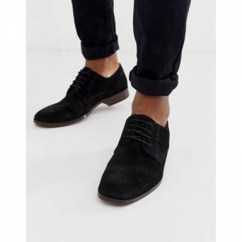 スニーカー 運動靴 黒 ブラック スエード スウェード ナチュラル メンズ 【 BLACK ASOS DESIGN DERBY SHOES IN SUEDE WITH NATURAL SOLE 】