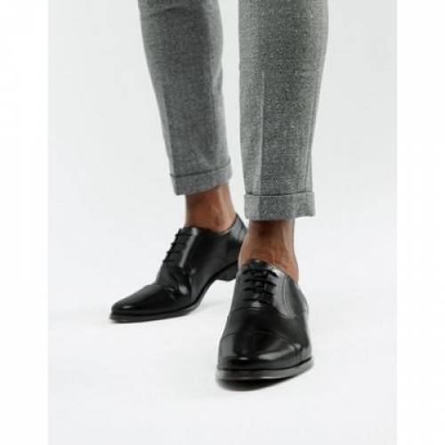 オックスフォード スニーカー 運動靴 黒 ブラック レザー キャップ 帽子 メンズ ビジネススニーカー 【 BLACK ASOS DESIGN OXFORD SHOES IN LEATHER WITH TOE CAP 】