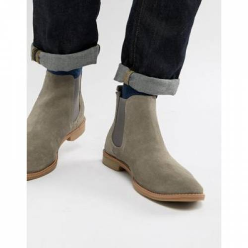 GRAY灰色 グレイ スエード スウェード ナチュラル メンズ ブーツ 【 GREY ASOS DESIGN CHELSEA BOOTS IN SUEDE WITH NATURAL SOLE 】